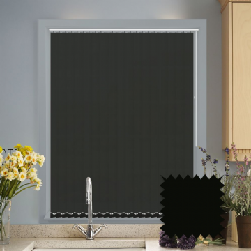 Black Made to measure vertical blinds in Carnival Raven plain FR / Antibacterial fabric